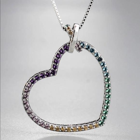 b58d80654c007 Authentic Pandora Asymmetrical Heart Necklace NWT